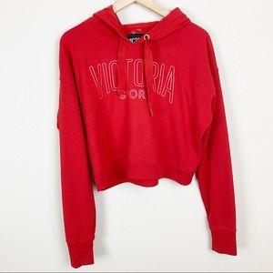 Victoria Secret Sport Crop Hoodie Pullover L Red